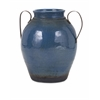Attractive Harrisburg Large Vase with Metal Handles, Navy blue & Black
