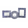 Astonishing Lucenda Blue and White Ceramic Frames, White & Blue, Set Of 3