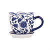 Pauline Mug Planter, White and Blue