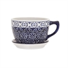 Meredith Mug Planter, White and Blue