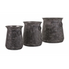 Sturdy Homestead Metal Pots, Rustic Black, Set Of 3