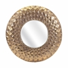 Chic Carey Round Mirror, Antique Gold