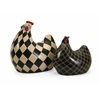 Distinctive, Black and white, Set Of 2 Herrick Black and White Chickens