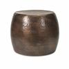 Nuria Hammered Design Short Aluminum Accent Table, Copper