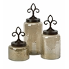 Fleur De Lis Lidded Jars - Set of 3