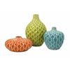 Pricelessly Colorful, Orange, green, blue, Set Of 3 Agatha Ceramic Vases