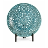 Beautiful Lopez Floral Pierced Charger with Iron Stand, Turquoise glaze