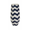 Stunning and Captivating Chevron Short Vase, Blue and White