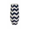 Stunning and Captivating Chevron Short Vase, Blue and White
