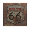 Vintage Route 66 Dimensional Metal Art, Distressed Brown