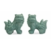 Captivatingly Cute, Green, Set Of 2 Choo Foo Dogs
