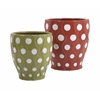 Set of 2 Vibrant Dottie Earthenware Planters