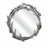 Astonishing Aspen Antler Wall Mirror, Oxidized Silver