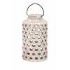 Eye-catching Verandah Large Cutwork Ceramic Lantern, White hues