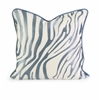 Classy IK Bahari Light Blue Embroidered Linen Pillow with Down Fill