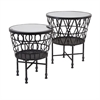 Zaria Drum Mirror Accent Tables, Black, Set Of 2