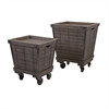 Ella Elaine Wood Cart Tray Side Tables, Natural wood color, Set Of 2