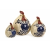 Delightfully Cute, White, Blue, Set Of 3 Scandinavian Chickens