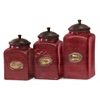 Delightful and Sizzling, Red, Set Of 3 Red Ceramic Canisters