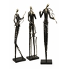 Charming Jazz Club Musician Statuaries, Oxidized Silver, Set Of 3