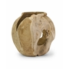 Contemporary Styled Fancy Macaque Teakwood Vase