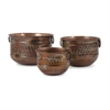 Fascinating Sascha Burnished Copper Planters, Rustic copper, Set Of 3
