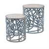 Coral Mother of Pearl Tables, Light Blue, Set Of 2