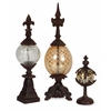 Artistically Stunning Set of 3 Glass and Metal Finials