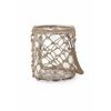Classy Luca Small Glass and Jute Lantern, Transparent