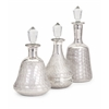 Fashionable, Silver, Set Of 3 Nina Silver Glass Bottles