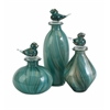 Bellatrix Glass Bird Stopper Bottles - Set of 3