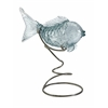 Pisces Glass Fish Statuary on Metal Stand, Pale Blue