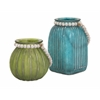 Enthralling Alta Colored Jars, Green and blue, Set Of 2