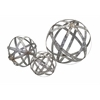 Attractive Set of 3 Demi Galvanized Spheres