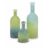 Adorable Set of 3 Alena Green and Blue Glass Bottles