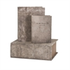 Ella Elaine Old World Book Boxes, Distressed taupe, Set Of 3
