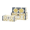 Andrea Storage Trunks, Dark blue, yellow, Set Of 3