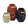 Cool and Impressive, Red, black, white, Set Of 3 Bailey Lattice Lanterns