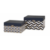 Attractive, MDF, Set Of 2 Nora Navy and Gold Boxes
