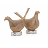 Elegant Mango Wood Carved Birds, Brown, Set Of 2