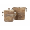 Magnificent Makana Wood Bar Buckets, Natural, Set Of 2