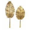 Excellent, Dyed in golden hue, Set Of 2 Milano Gold Leaf Wall Leaves