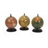 Antique Finish Mini Globe On Wood Base - Set of 3