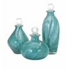 Gorgeous Andes Glass Bottles with Stoppers, Turquoise, Set Of 3