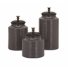 Eyecatching Beth Kushnick Cream Lidded Canisters, Chocolate Brown, Set Of 3