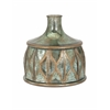 Elegant Rikke Short Glass Vase, Green and copper