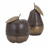 Attractive Wood and Brass Apple and Pear, Dark brown, Set Of 2