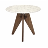 Fabulous Febe Tall Marble and Wood Table, White and Wooden