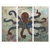 Fashionable Splash Tryptych Octopus, Gray and Black