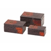 Enthralling Autumn Flower Mosaic Boxes, Gray and Orange, Set Of 3